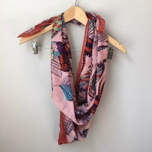 Accessories - Feather Print Scarf Boho Red Pink Lightweight